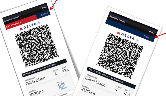 TSA Pre mobile boarding pass