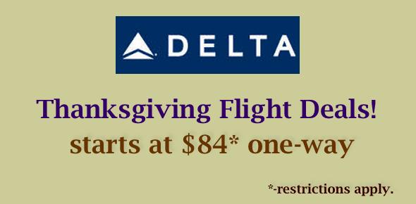 delta airline thanksgiving flight deals start at $84 oneway