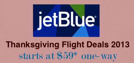 jetBlue flight deals - Thanksgiving sale 2013 start at $59 oneway