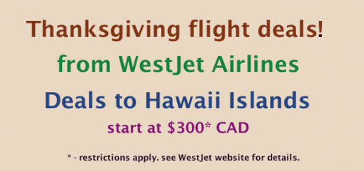 Thanksgiving flight deals to Hawaii from WestJet Airlines