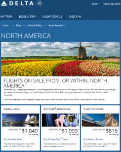 Delta North America Flight Deals