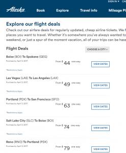 Alaskan Air Direct Flight Deals Web page