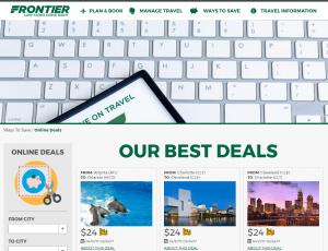 Frontier website flight deals page