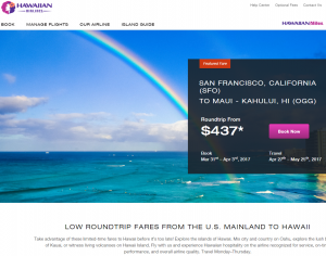 Hawaiian Airlines flight deals page