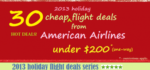 30 Cheap Flight Holiday Travel Deals under $200 from American Airlines